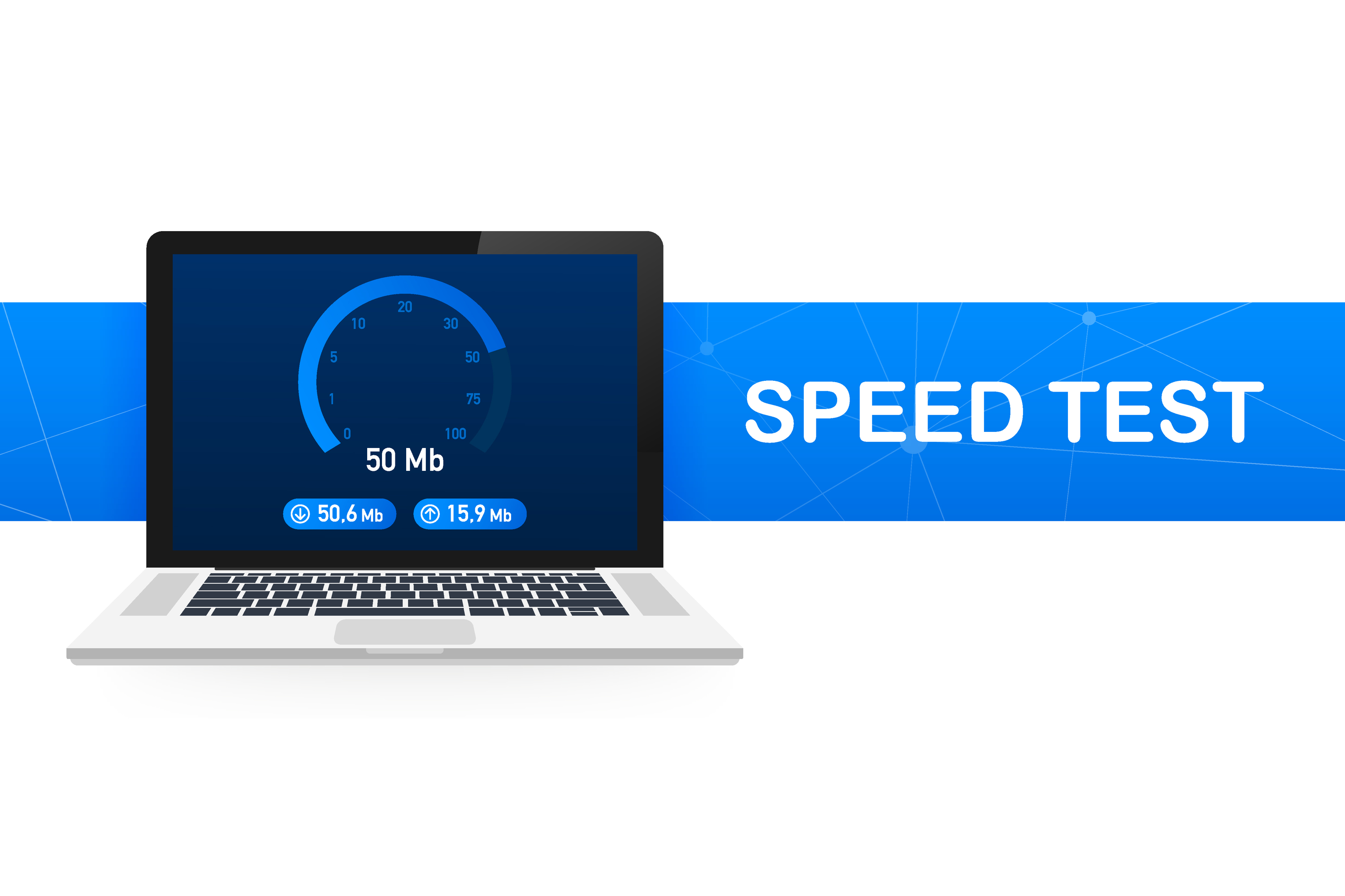 Speed Test On Laptop. Speedometer Internet Speed 100 Mb. Website